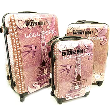 Amazon.com | Set of 3 abs trolley suitcase Lollipopspink purple (51/61/71 cm (0.00)) eiffel tower. | Suitcases