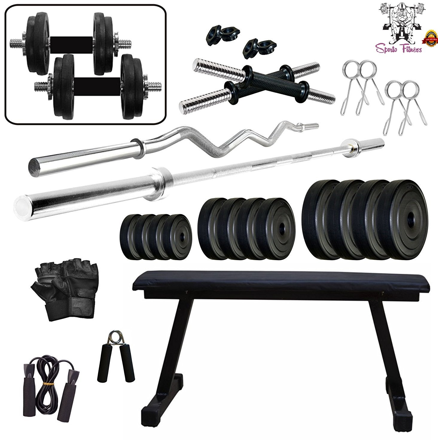 Sporto fitness beginners home gym equipments kg with bench