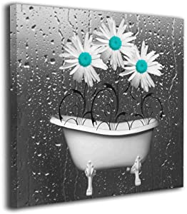 Yanghl Canvas Wall Art Prints Teal Gray Flower Bathroom Modern Decorative Artwork for Wall Decor and Home Decor Framed Ready to Hang 12