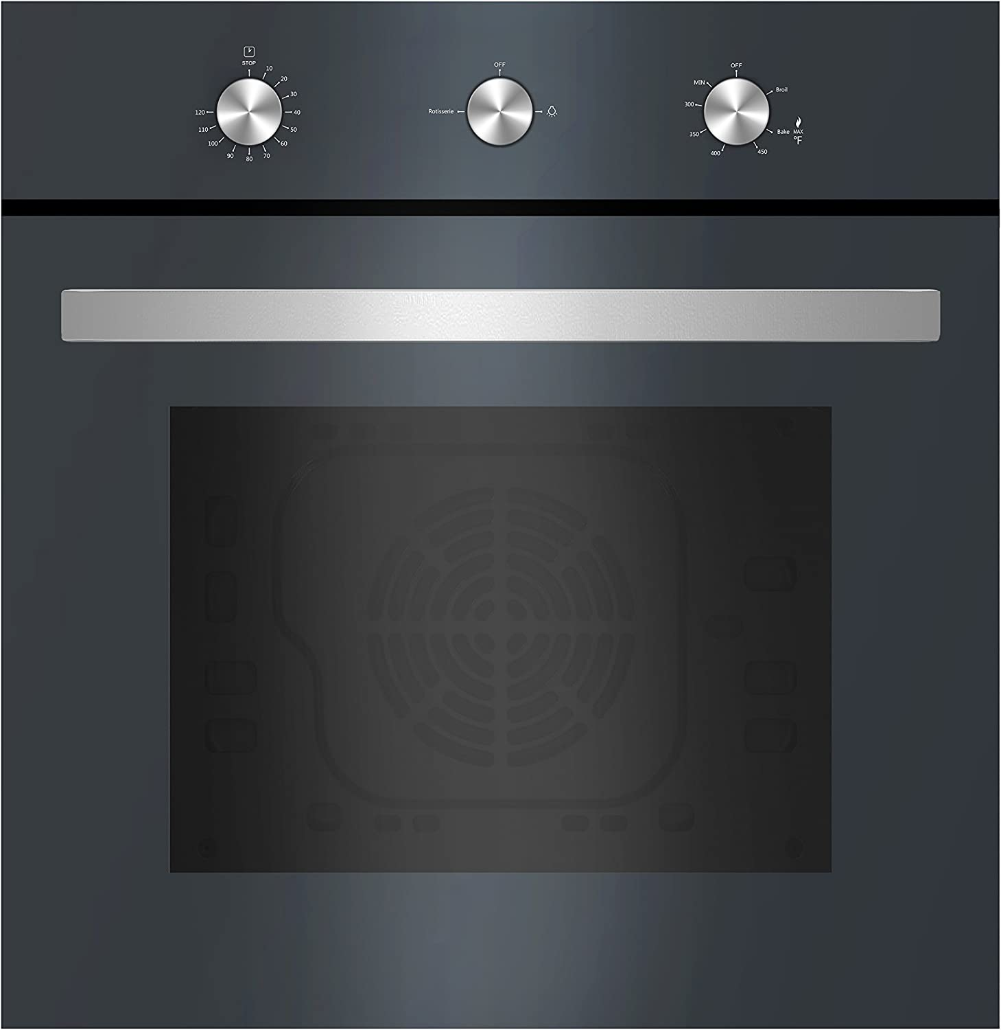 Empava 24XWOD03 24 Inch Under-Counter Gas Single Wall Oven with Rotisserie and Broil Function in Tempered Glass, D03