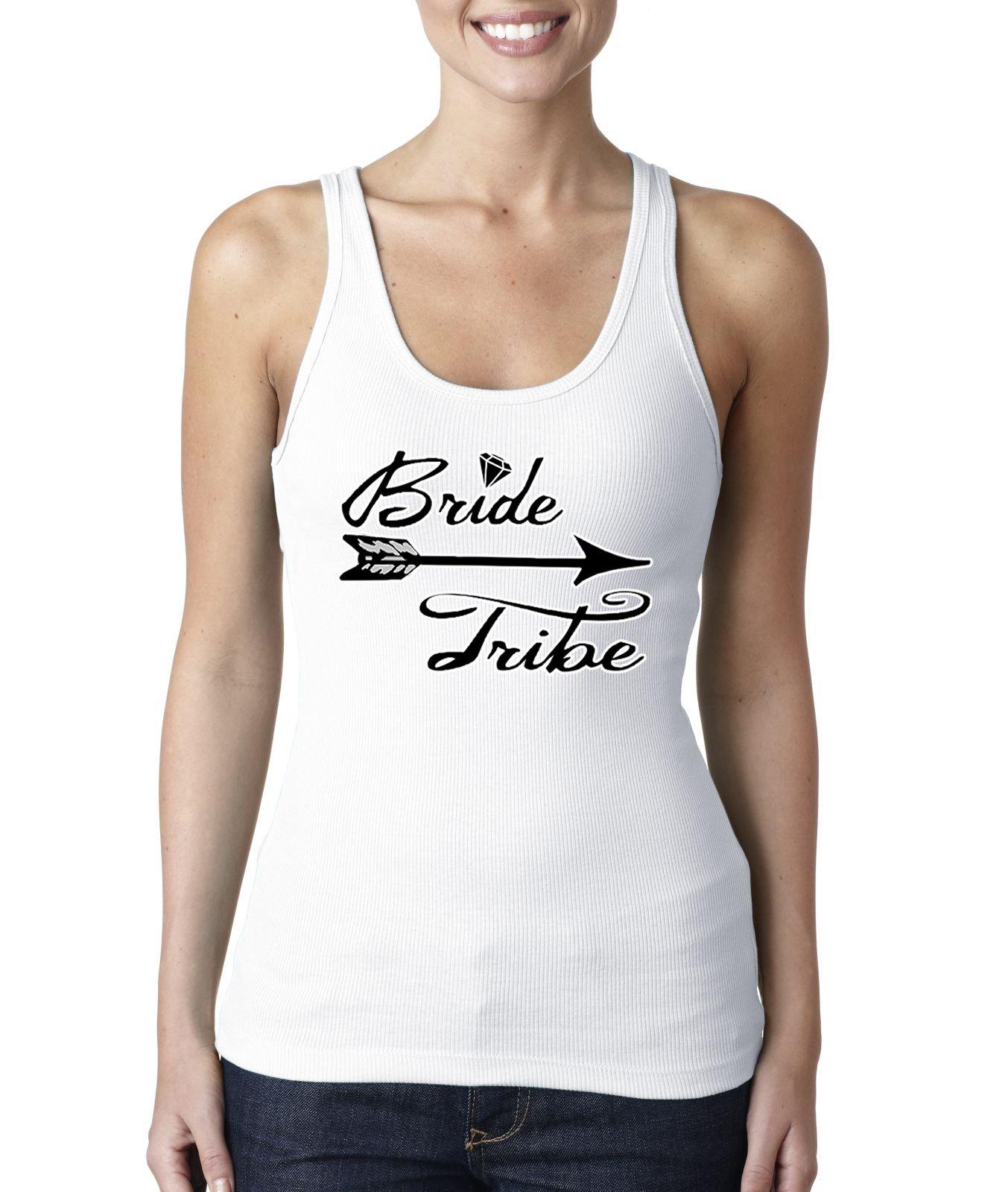 Fresh Tees® Bride Tribe Women's Shirt Wedding Shirts (X-Large, White)