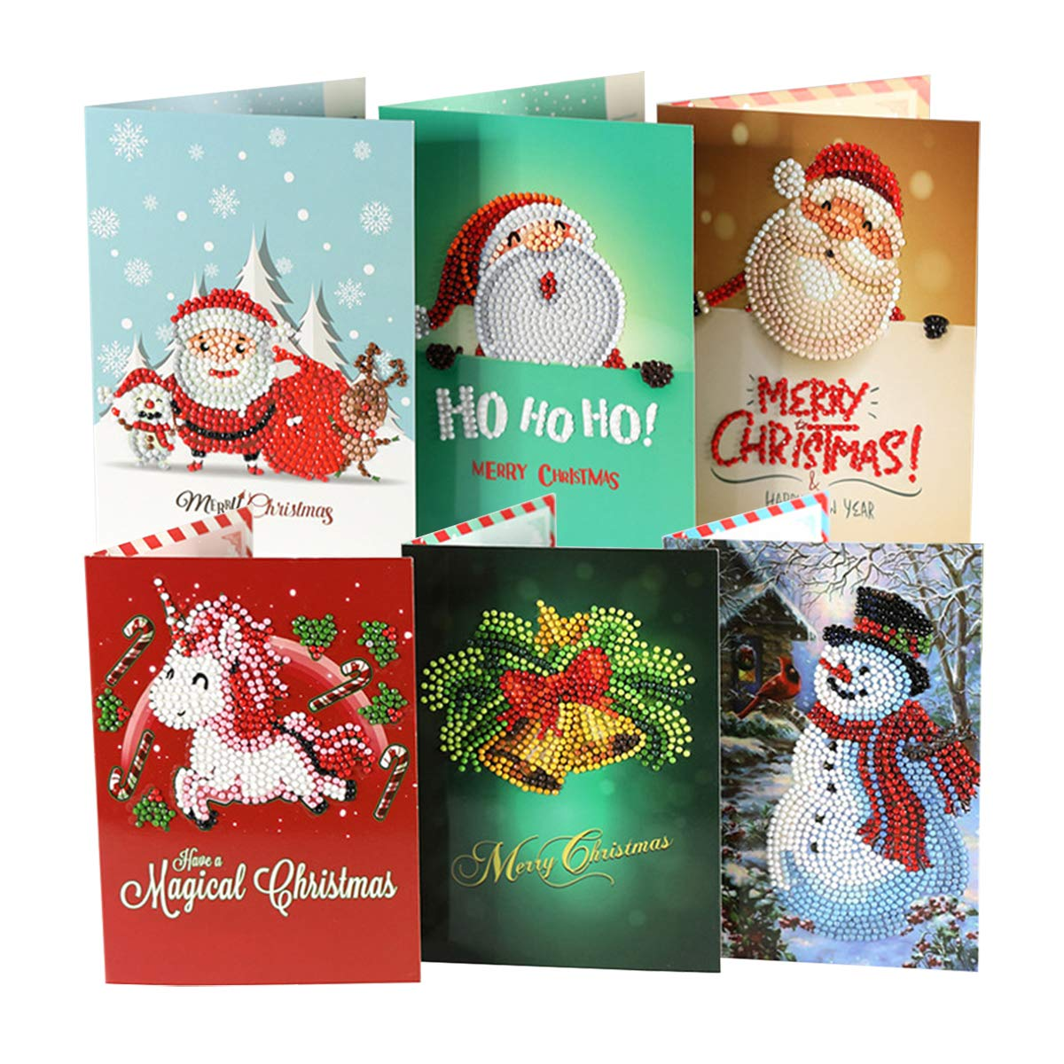 Qiaoniuniu Christmas Santa Cards Diamond Painting For Kids 5d Rhinestone Painting By Number Kits Mosaic Making 8 Packages Arts Crafts Greeting Cards