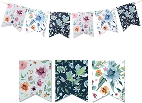 3 Metres Afternoon Tea Roses Party Decoration Banner 14 Flags Paper Bunting