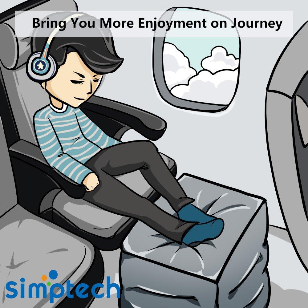 Fußstütze Reisekissen für Flugzeug, 2-in-1 Design, Höhenverstellbar, Aufblasbares Kissen für Kinder zum Hinlegen oder Schlafen bei Langstreckenflügen (2)
