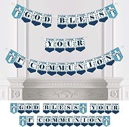 Big Dot Of Happiness First Communion Blue Elegant Cross
