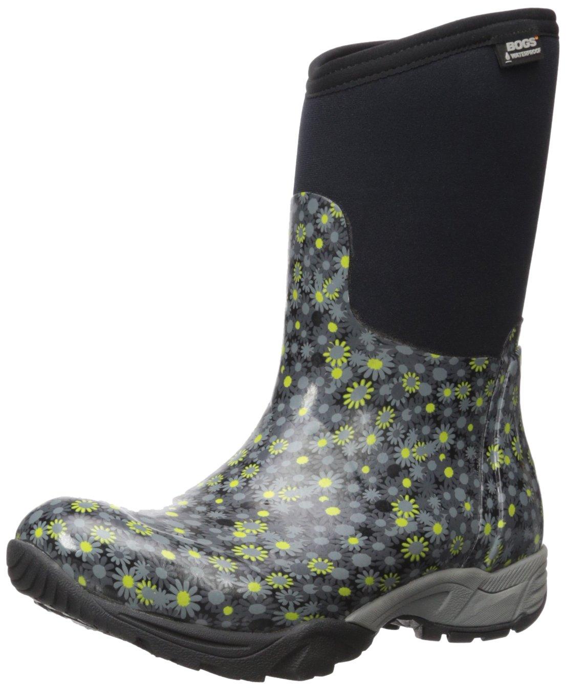 Bogs Women's Daisy Multiflower Work Boot, Black/Multi, 9 M US