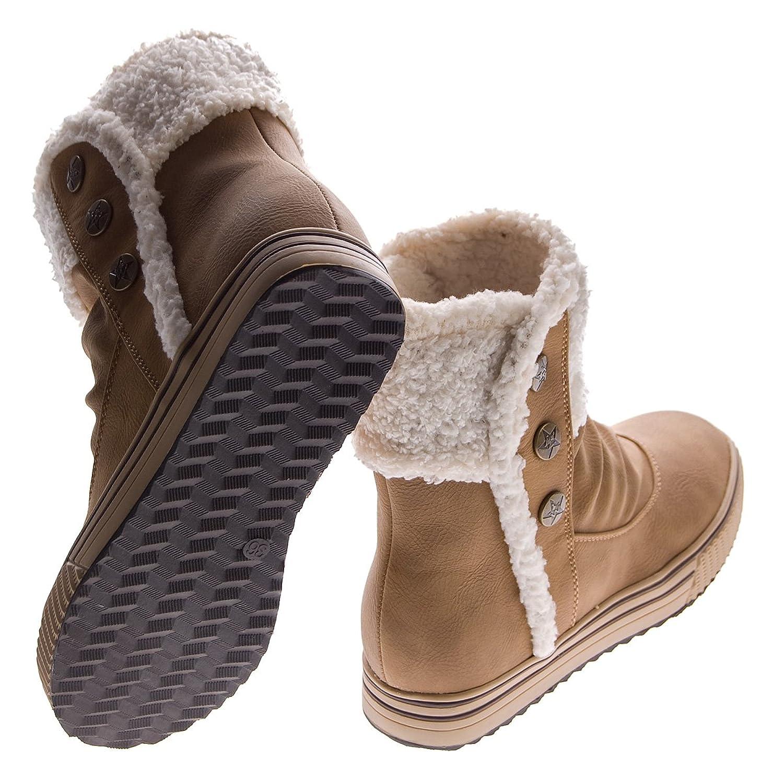 Fashion Stiefeletten Damen Schuhe gefuttert Winter 1577 Grau 39