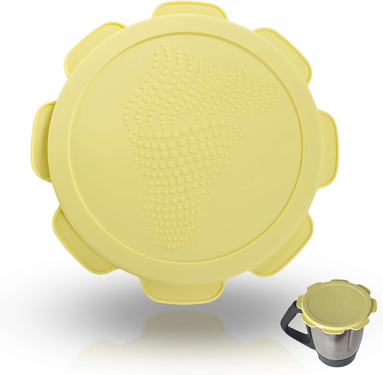 Tapa de silicona para Vorwerk Thermomix TM5 TM6 Olla para Mezclar. Protección contra fugas de agua y aire. Mixcover el accesorio indispensable para su procesador de comida. Ice Cream Yellow