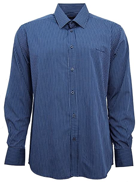 Pierre Cardin Mens Long Sleeve Striped Shirt with Signature Embroidery at Amazon Mens Clothing store: