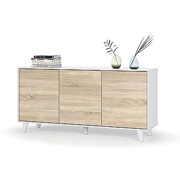 Mobelcenter - Aparador buffet salón comedor 3 puertas - Color Blanco ...
