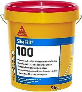 SikaFill 100, Revestimiento elástico para impermeabilización de cubierta, Rojo, 5kg