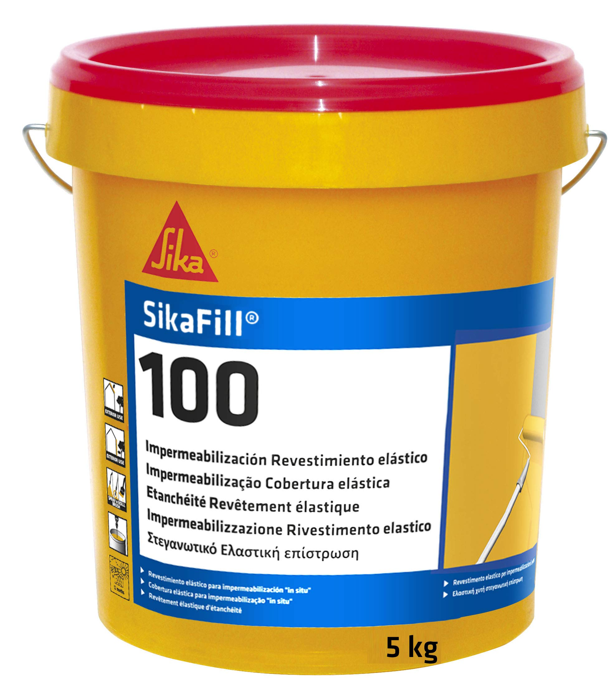 SikaFill 100, Revestimiento elástico para impermeabilización de cubierta, Rojo, 5kg product image