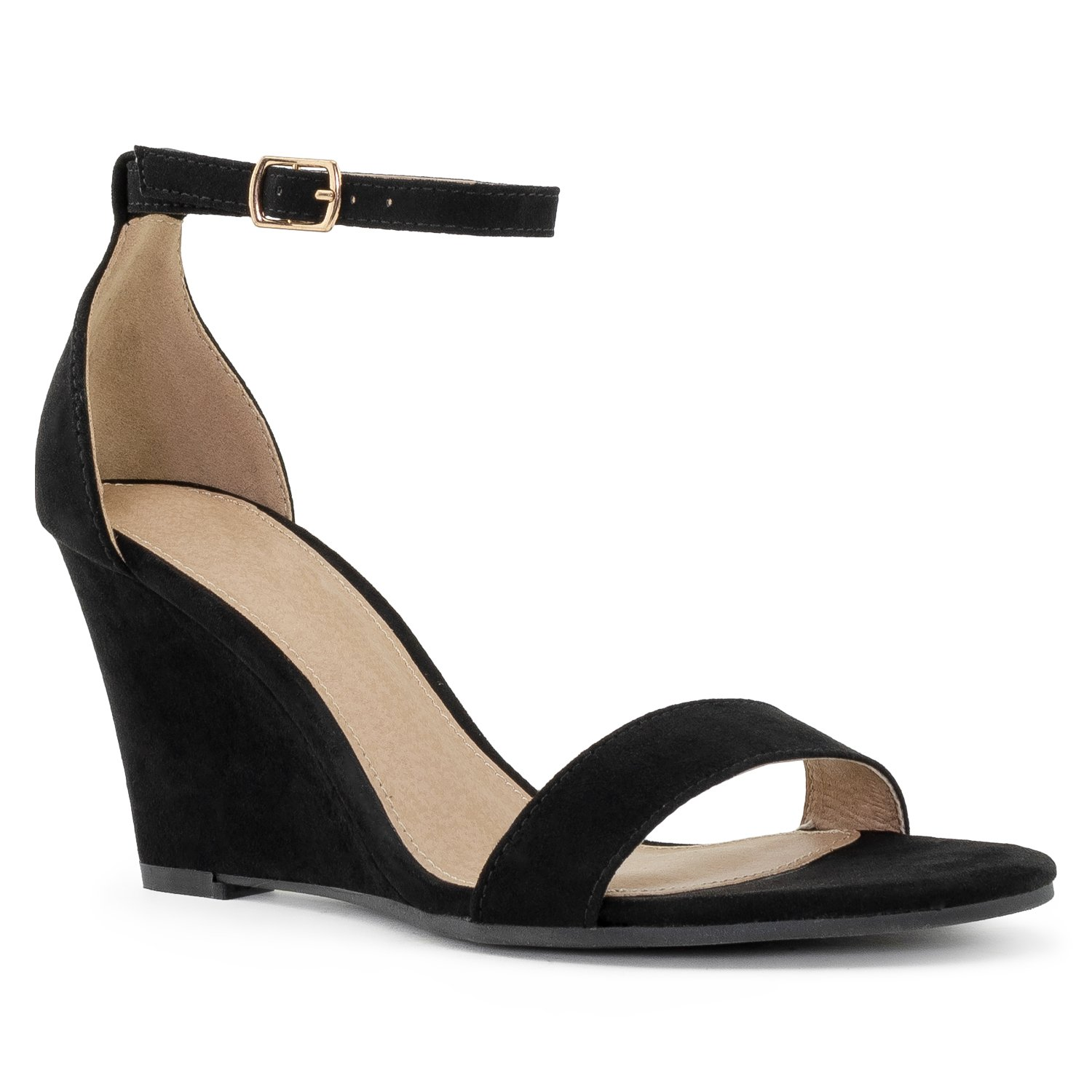 RF ROOM OF FASHION Women's Ankle Strap Low to Mid Wedge Sandals Black (8)