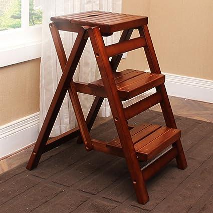 Amazon.com: Step Ladders WSSF- Dual-use Rubber Wood Stool Folding ...