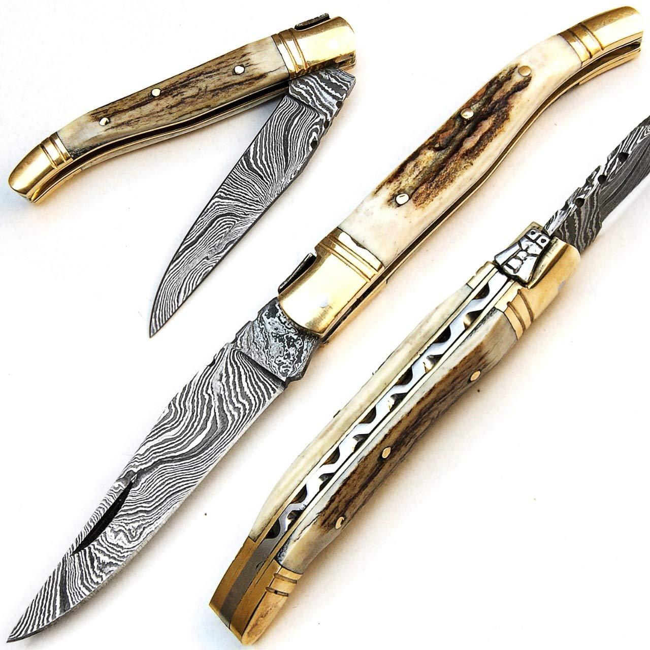PAL 2000 9429 Cuchillo Plegable de Acero Damasco Hecho a ...