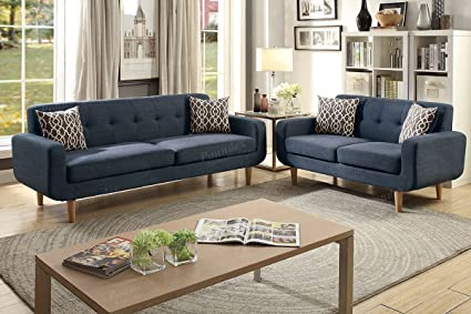 Amazon.com: 2Pcs Modern Dark Blue Dorris Fabric Sofa ...