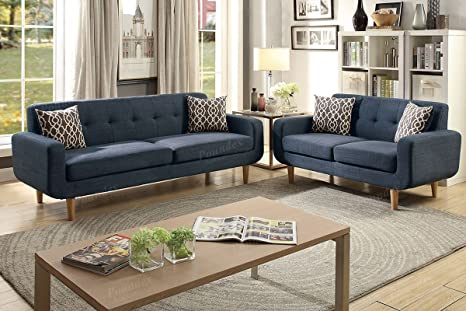 Marvelous Poundex Pdex Sectional Set Dark Blue Andrewgaddart Wooden Chair Designs For Living Room Andrewgaddartcom