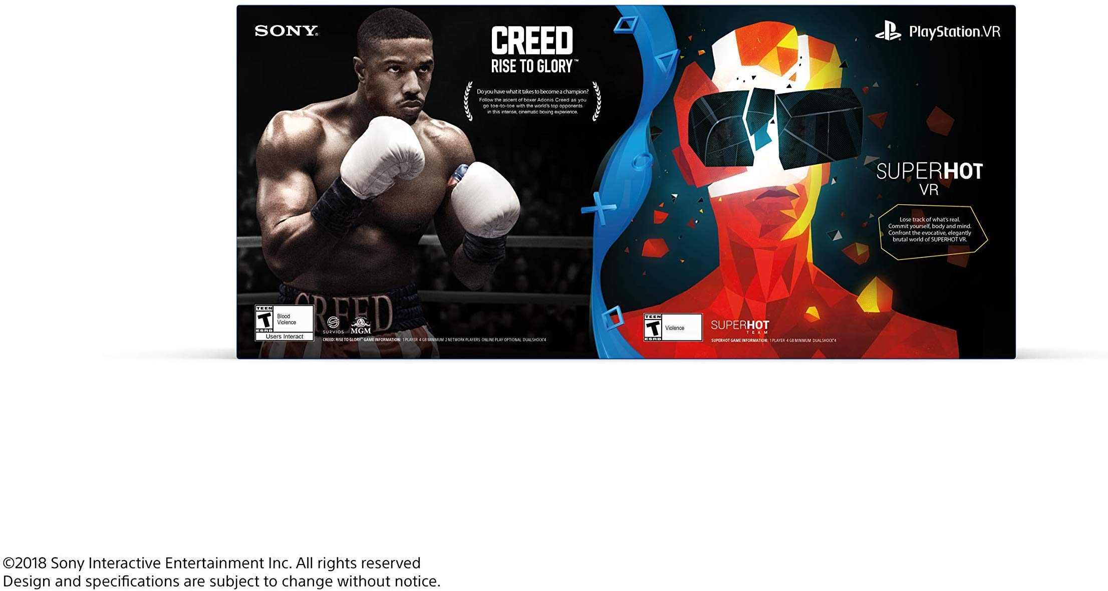 Sony PlayStation VR SUPERHOT VR and CREED Rise to Glory PSVR BUNDLE