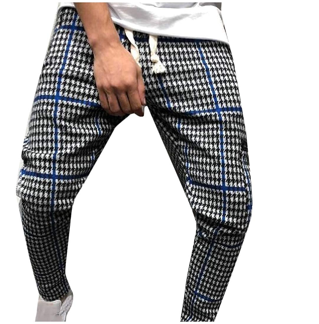 Zimaes-Men Relaxed-Fit Mid Waist Strappy Fashion Plaid Sweatpant