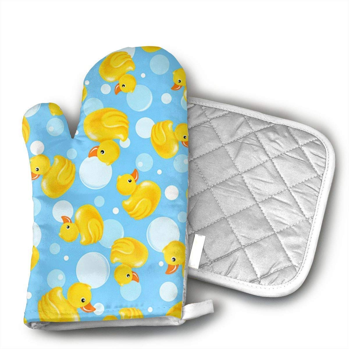 NoveltyGloves Yellow Duck Oven Mitts,Professional Heat Resistant Microwave BBQ Oven Insulation Thickening Cotton Gloves Baking Pot Mitts Soft Inner Lining Kitchen Cooking