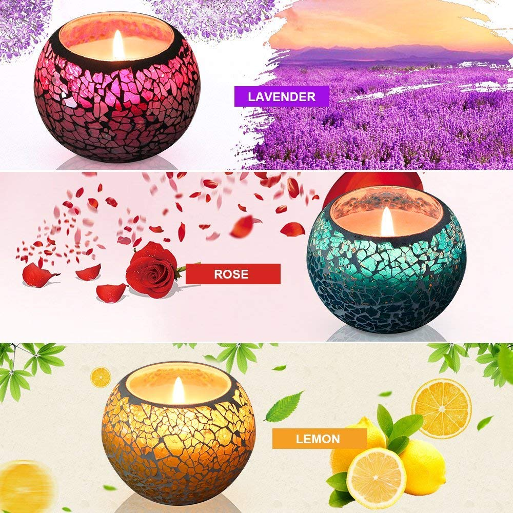 U2C Scented Candles Gift Set, Handmade 3 x 4.4 Oz 100% Natural Soy Glass Candles, Set of 3: Lavender, Rose and Lemon Travel Candle, Use for Aromatherapy, Weddings, Candles (3 Pack)