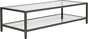 "Studio Designs Home Camber Modern Rectangular Glass Coffee Table in Gray Pewter with Clear Glass, Living Room Coffee Table, 55"", 71000"