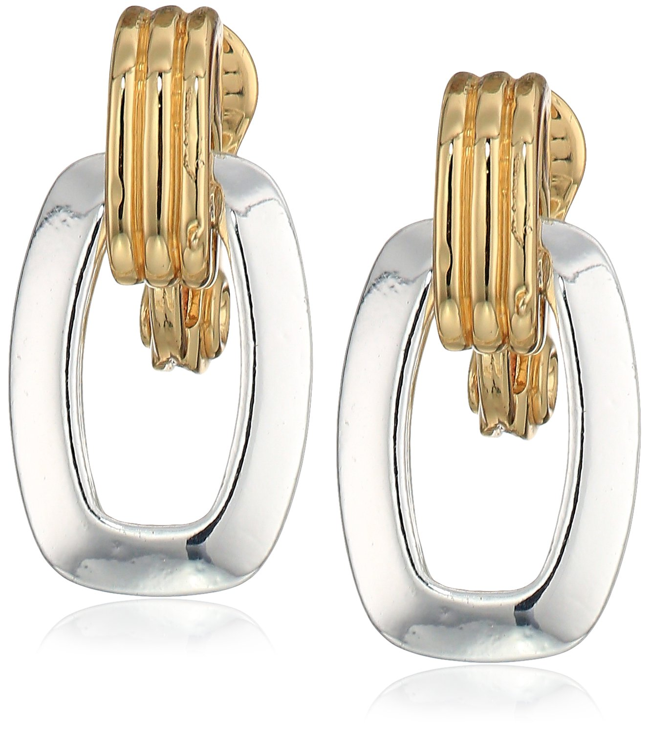 Anne Klein Gold-Silver Tone Clip Earrings