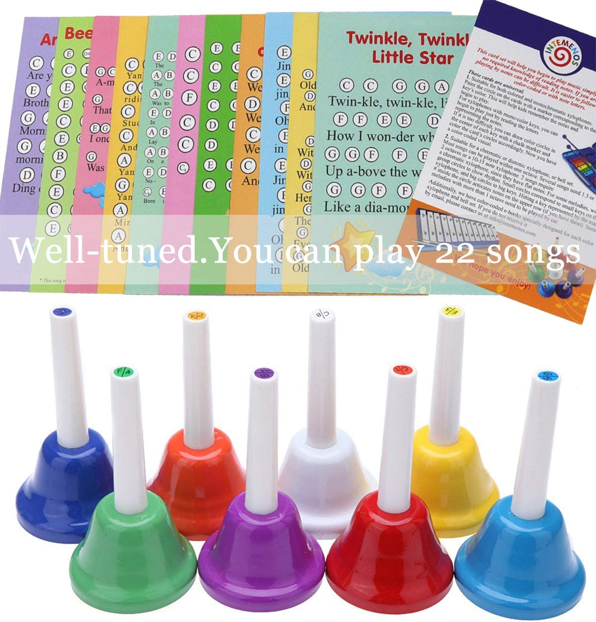 Sheet Music Songs YWHB-08 Seniors 8 Note Color-Coded Diatonic Metal Hand Bells Musical HandBells For Children Adult