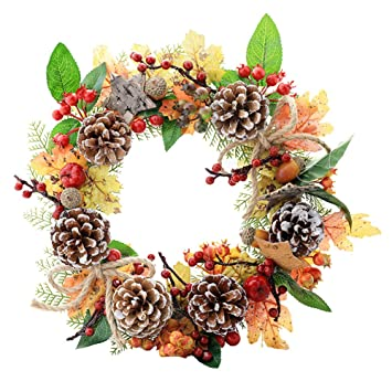 Amazon Com Adsro Maple Pine Cone Decorative Wreath Faux