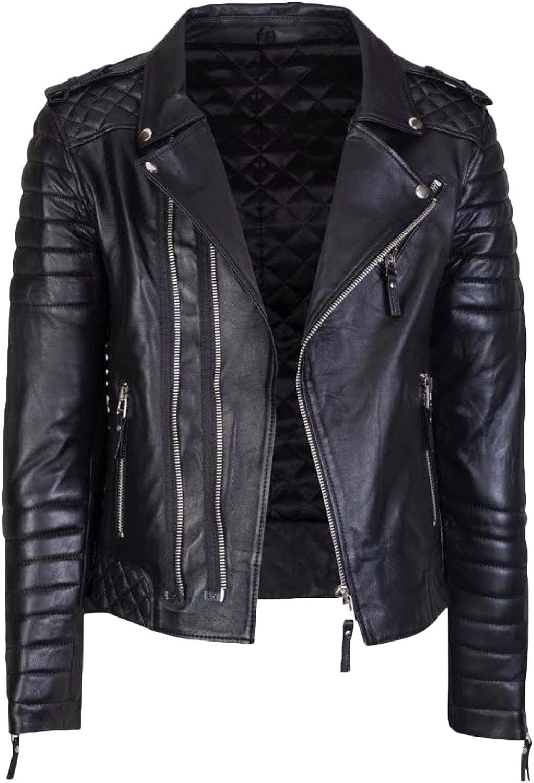 Kingdom Leather Mens Leather Jacket Slim Fit Biker Motorcycle Genuine Cow Leather Jacket Coat XC1474
