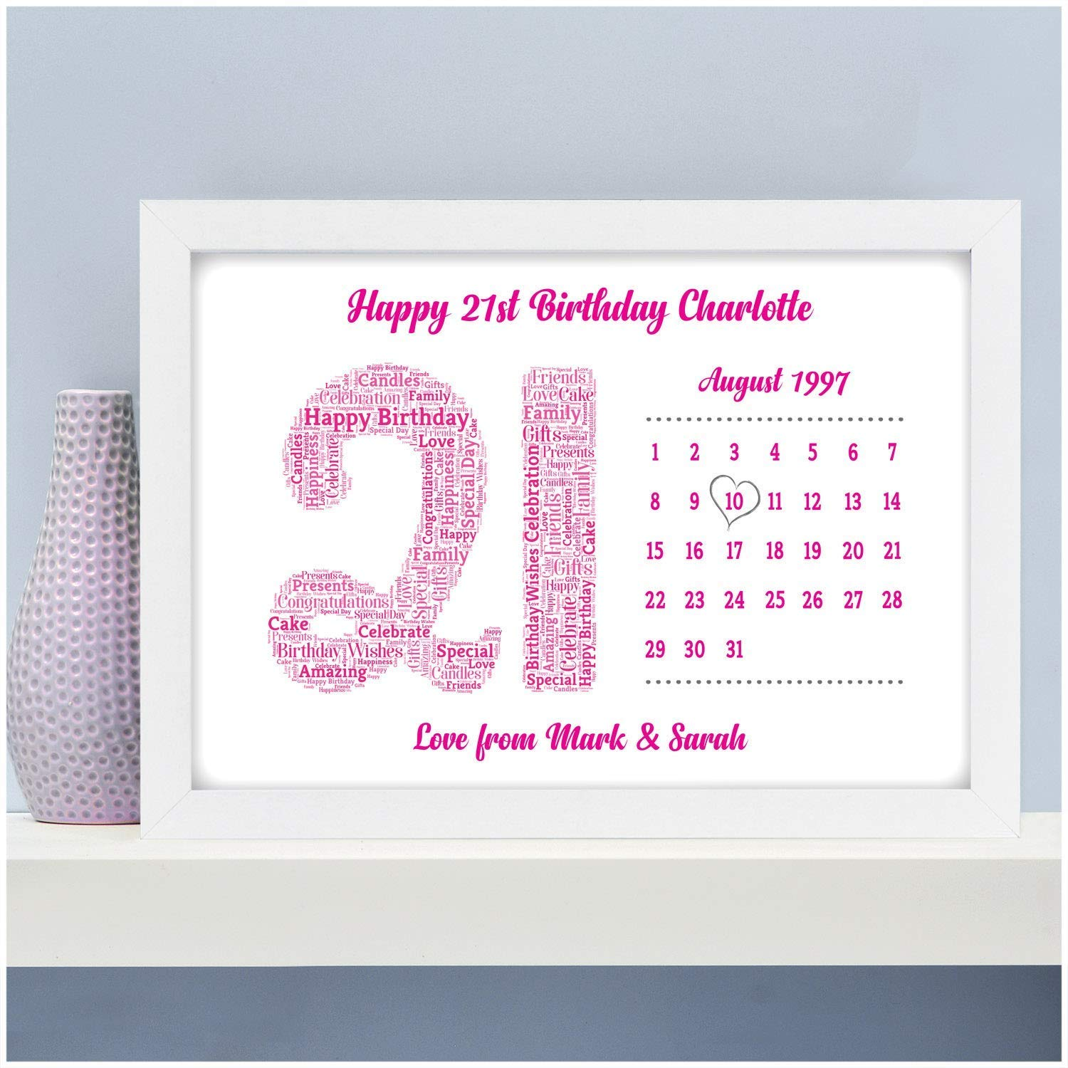 Personalised Birthday Calendar Date Gifts 13th 16th 18th 21st 30th 40th 50th 60th For Her Girls Daughter Mum Nan Him Boys Son