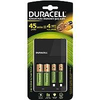 Duracell CEF14 CEF 14 Yüksek Hızlı Şarj Aleti (2 Adet AA 1300 mAh ve 2 det AAA 750 mAh Pil içerir), Bakır/Siyah