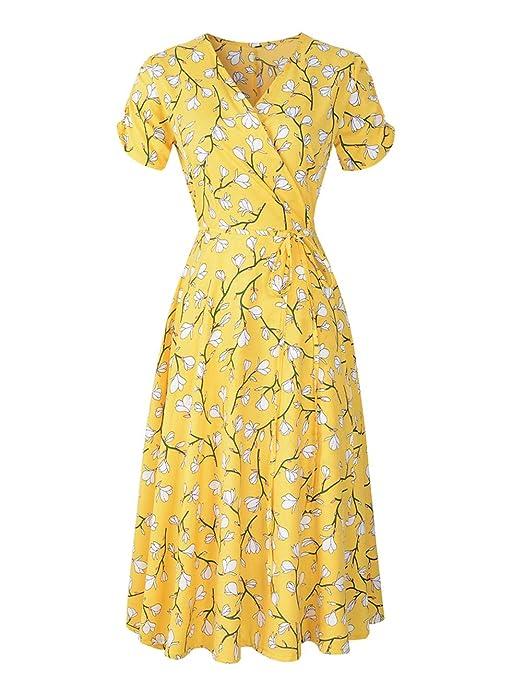 Vestido YONGYONGCHONG Gasa con Estampado de Verano para Mujer ...