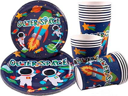 Napkins Outer Space Party Supplies 177PCS Astronaut Planet Theme Children Birthday Disposable Dinnerware Set Includes Plates Tablecloth and Banner Forks Spoons Serves 25 Knives 12oz Cups