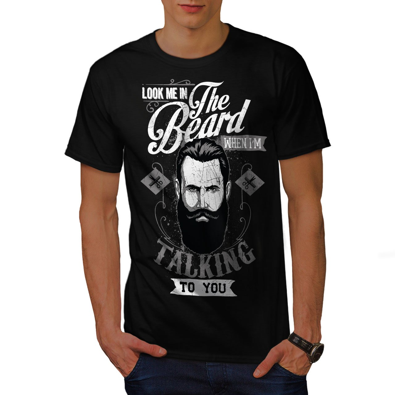 39dd4dafe Wellcoda Look Me in The Beard Mens T-Shirt, When Detailed Design Print Tee:  Amazon.ca: Clothing & Accessories