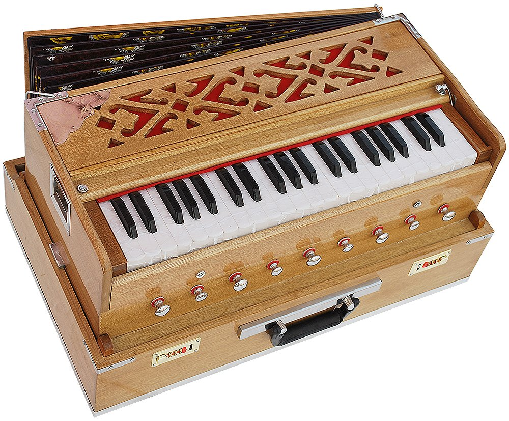 Harmonium Traveler/Portable/Folding Type By Kaayna Musicals, 9 Stops- 5 Main & 4 Drones, 3½ Octaves, Coupler, Teak Color, Gig Bag, Bass-Male Reed - 440 Hz, Suitable for Yoga, Bhajan, Kirtan, Mantra by Kaayna Musicals