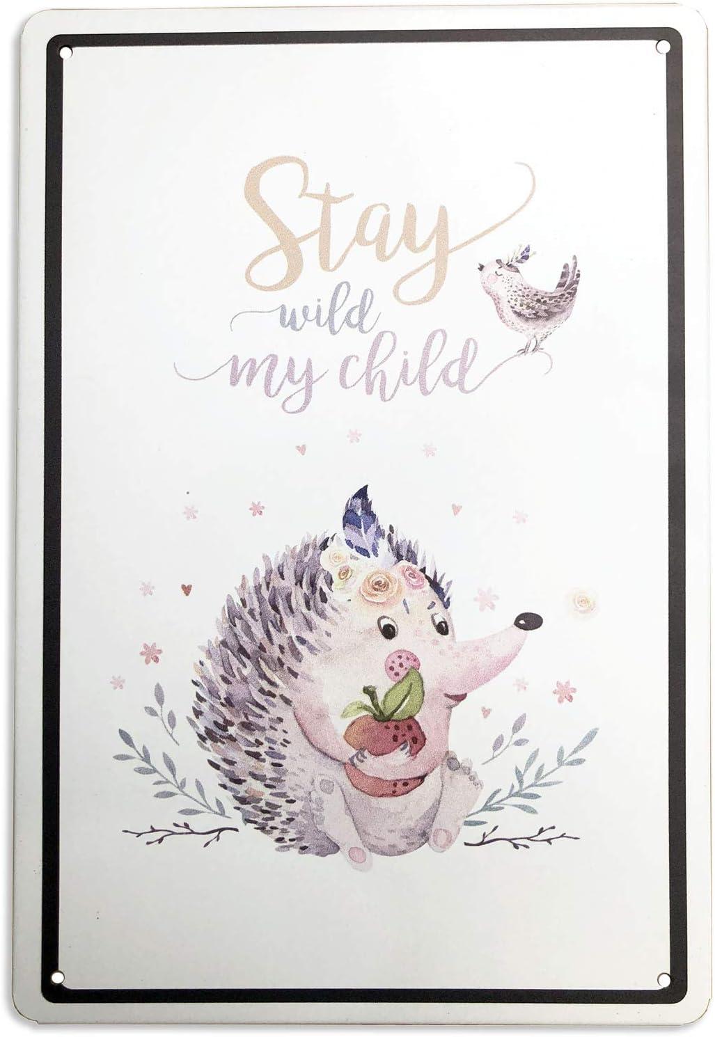 SUDAGEN Hedgehog Metal Tin Signs Stay Wild My Child Cute Animal Home Babyroom Decor Nursery Decor 12 x 8 Inch (Hedgehog)
