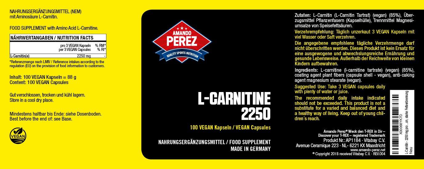 L-carnitina - 2250 mg por dosis - dosis altas - Fase de definición - 100 cápsulas: Amazon.es: Salud y cuidado personal