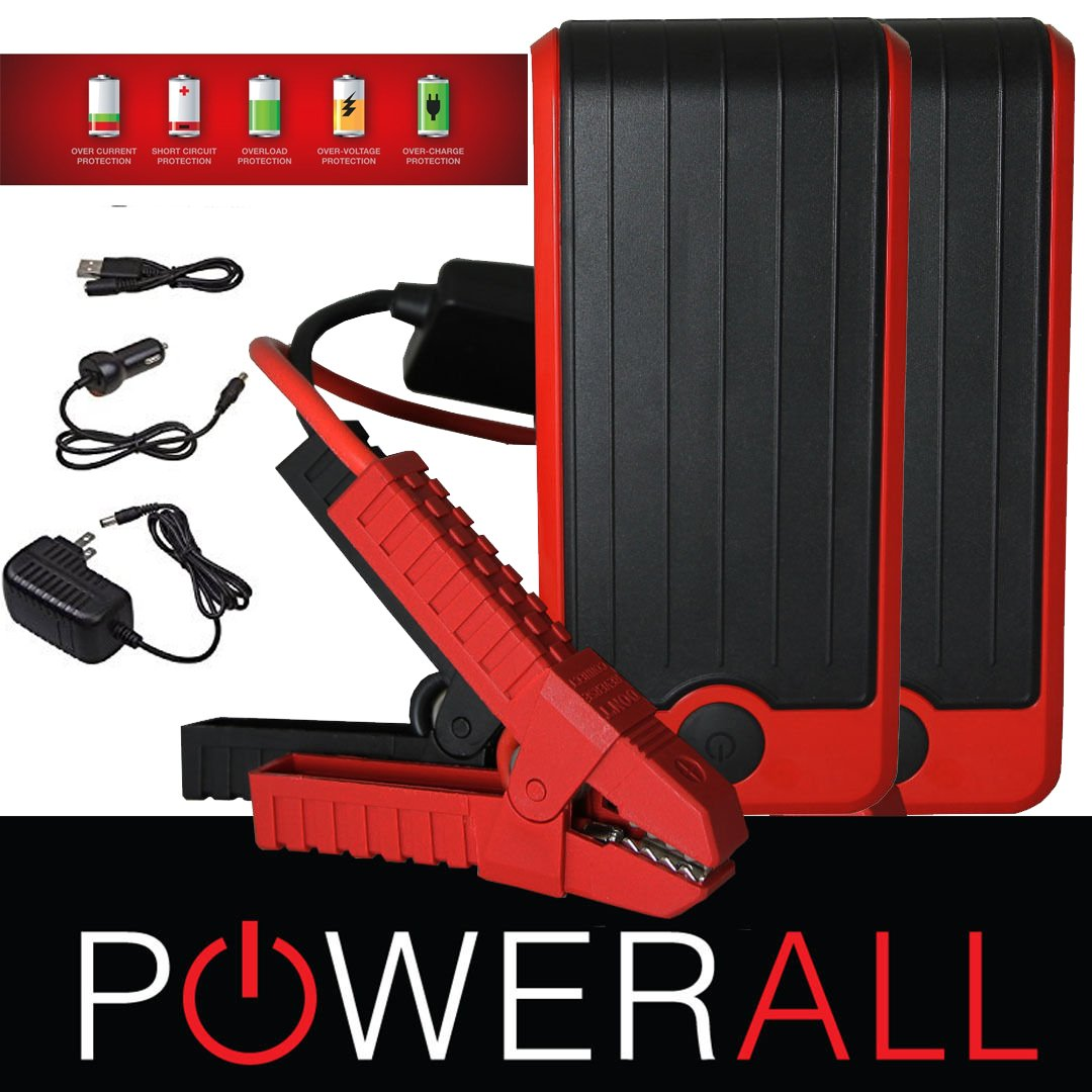 PowerAll DELUXE PBJS12000R 400 Amp 12,000 mAh Portable Lithium Jump Starter, Power Bank, LED Flashlight Red/Black (2 PACK)