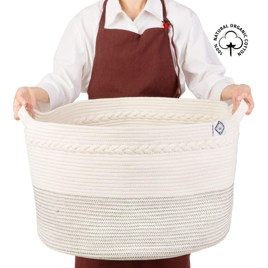 ZIKIMICO Extra Large Cotton Rope Basket - 21.7'' x 13.8'' Woven Laundry Hamper - Baby Toys Storage & Throw Blankets Organizers - Decor Jumbo Size Bin with Handles - Collapsible Bathroom Storage by ZIKIMICO