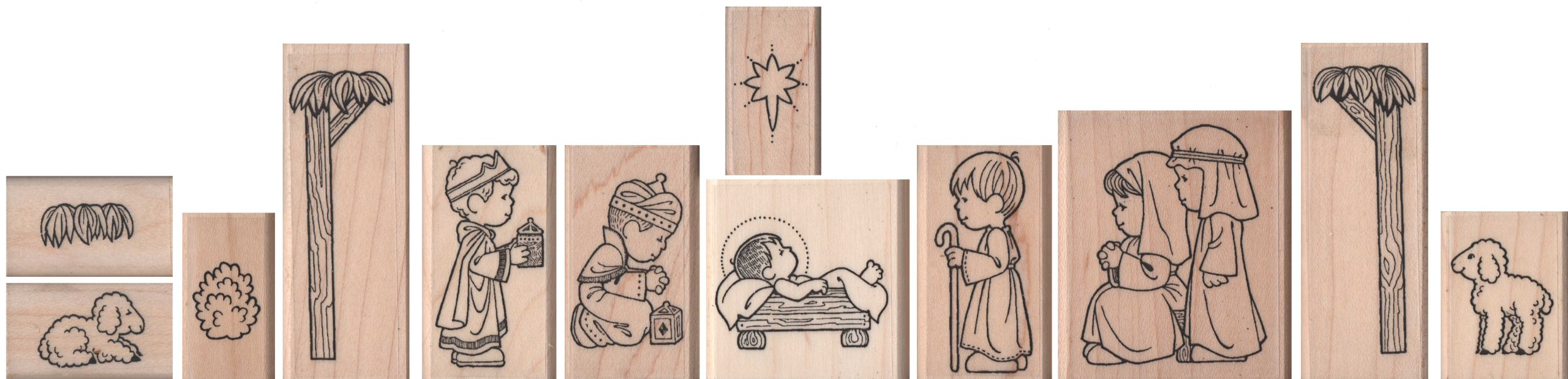 Christmas Nativity Rubber Stamps for Children – Set of 12
