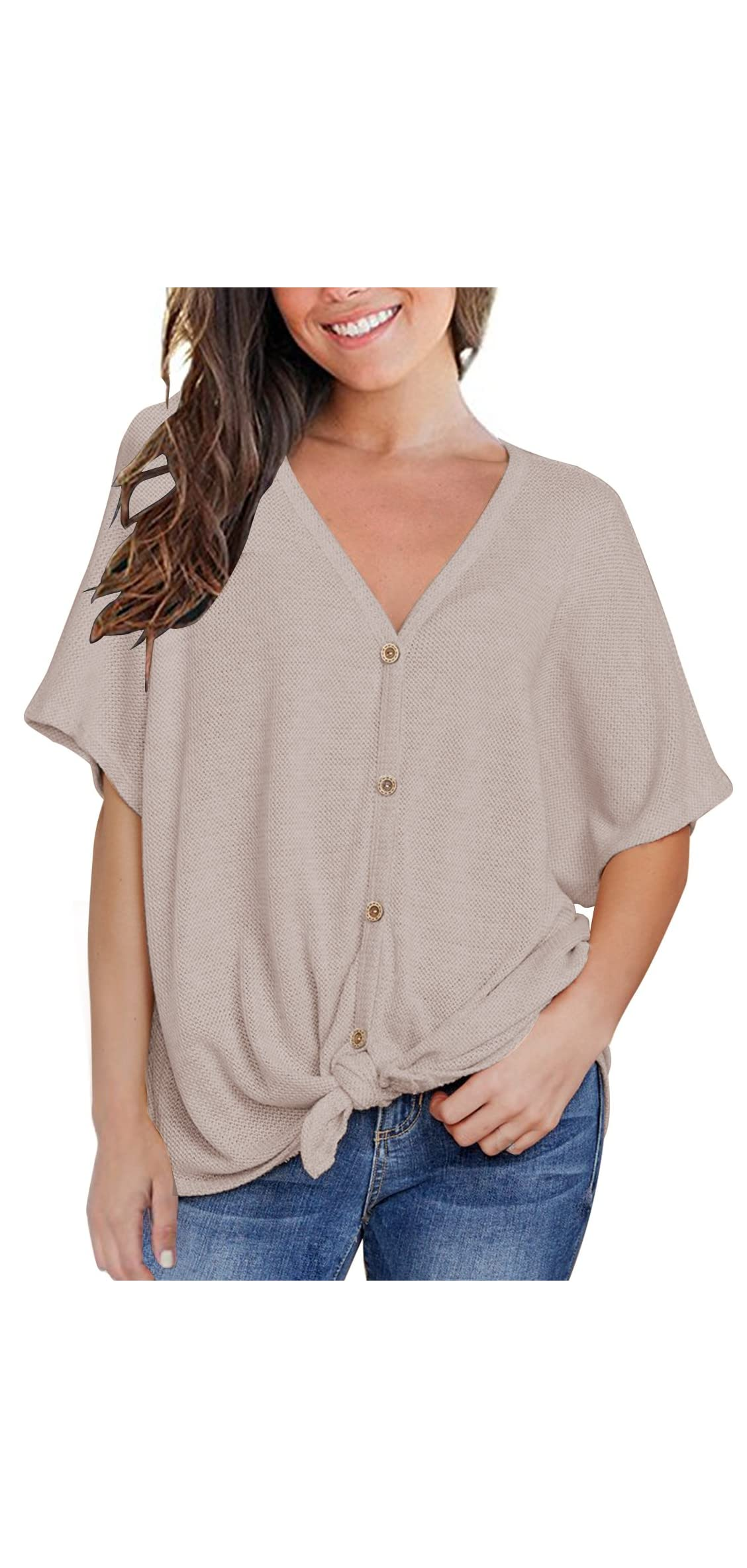Womens Loose Blouse Short Sleeve V Neck Button Down T Tie