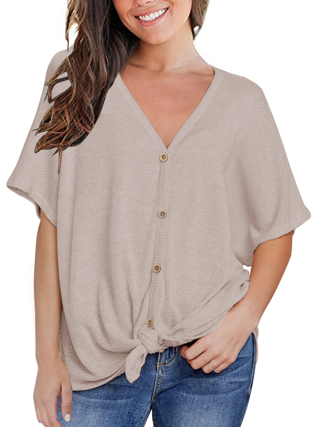 MIHOLL Womens Loose Blouse Short Sleeve V Neck Button Down T Shirts Tie Front Knot Casual Tops (Medium, Oatmeal)