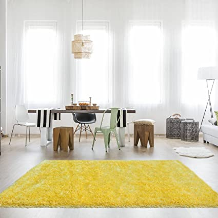 Barrington Ochre Yellow Gold Mustard Shaggy Shag Thick Deep Soft Warm Living  Room Area Rug 5