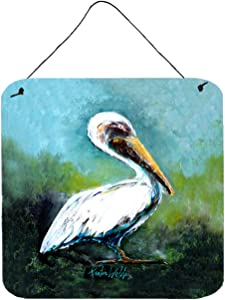 Caroline's Treasures Blue Stand White Pelican Door Hanging Prints Wall-Decor, Multicolor