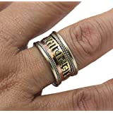 TIBETAN MEDICINE RING w/ Om Mani Padme Hum Mantra ~ Three Metals Formula for Balance & Healing ~ Includes Om Mani Ring Pouch
