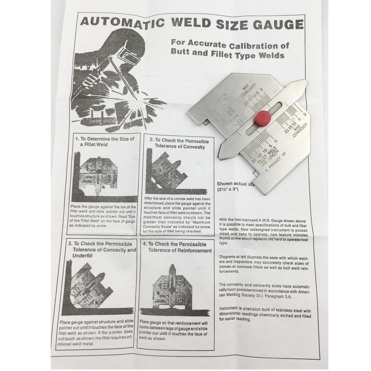 Automatic Weld Size Weld Gauge Welding Inspection Gage Stanless Steel mm