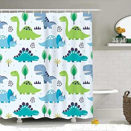 Autien Cartoon Shower Curtain, Waterproof Under The Sea Tropical Fishes  Coral Dinosaur Fabric Bathroom Decor