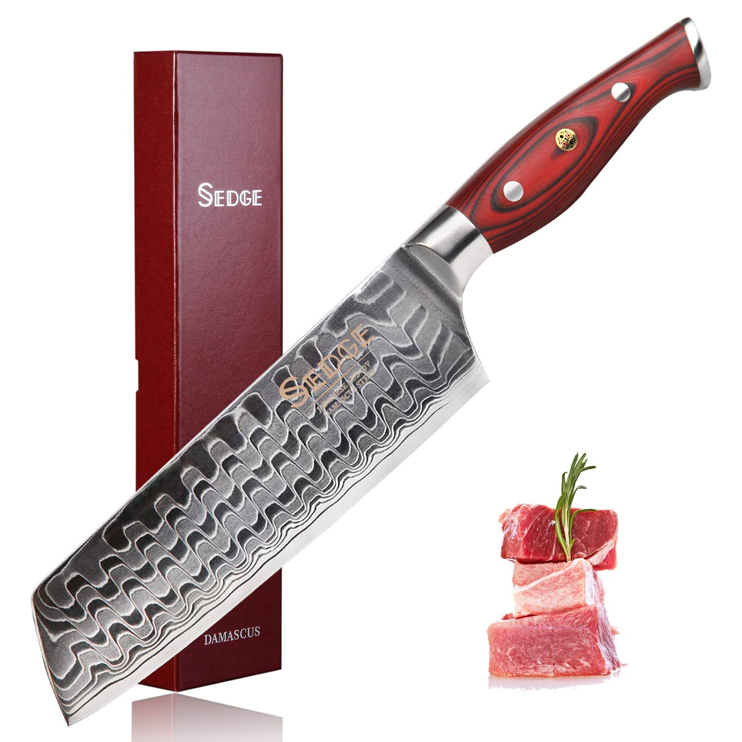 SEDGE Kiritsuke Knife 7 Inch - Nakiri Vegetable Cleaver Kitchen Knife - Ergonomic G10 Handle with Exquisite Gift Box - Japanese AUS-10 High Carbon Damascus Stainless Steel - SD-R Series by SEDGE