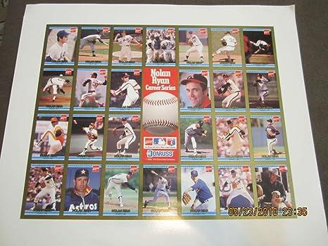 1992 Nolan Ryan Coca Cola Uncut Donruss Card Sheet At